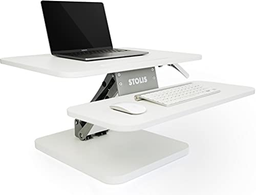 STOLIS Schreibtischaufsatz Höhenverstellbar [Tischerhöhung] Schreibtischaufsatz weiß, Schreibtisch Aufsatz, Stehschreibtisch Aufsatz, Erhöhung Tischaufsatz Stehpult, Standing Desk Converter