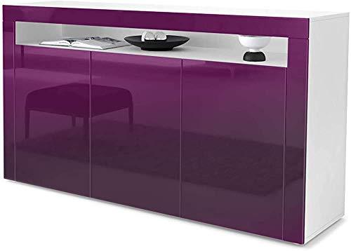 Meal Seitenschrank, Sideboard, Wohnzimmerschrank, mit einem offenen Fach und drei Toren,BlackBerry high gloss