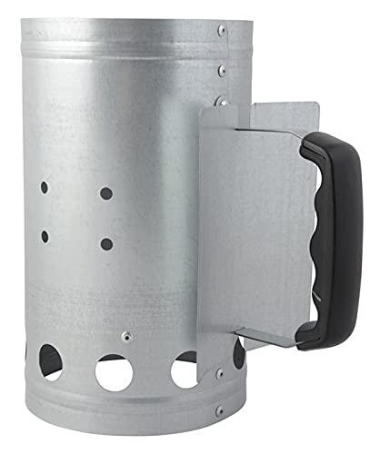 NATUMO Anzündkamin, Grillkohleanzünder Kamin für Holzkohlegrill mit Griff + Hitzeschutz, Grillkamin (Silber)
