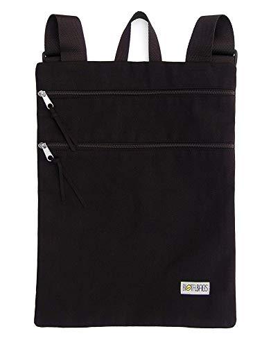 Mochila plana de tela, mochila unisex color negro con cremalleras