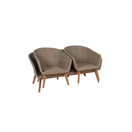Greemotion Murcia Loungemöbel Set 4-teilig für Garten und Terrasse mit Tisch aus Holz, braun, 1 x 1 x 1 cm - 8