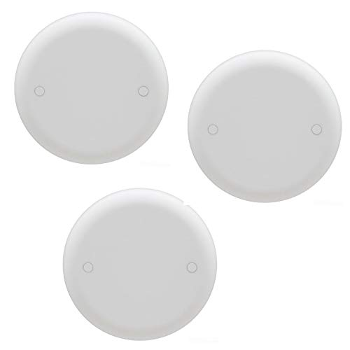 Carlon CPC4WH Ceiling Fan Box Cover, Round, Blank, 4-Inch Diameter, White, 3 PACK