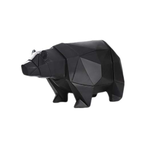 VOSAREA - Hucha de resina con diseño de oso polar en forma de hucha de banco, regalo de cumpleaños, color negro