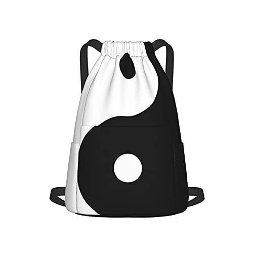 Kordelzug-Rucksack mit Yin-Yang-Motiv, rund, Unisex, mit Seitentasche für Fitnessstudio, Einkaufen, Sport, Yoga