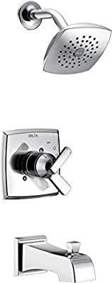 Delta Faucet Ashlyn 14 Series Single-Function Tub and Shower Trim Kit with Single-Spray Touch-Clean Shower Head, Stainless T14464-SS (Valve Not Included)