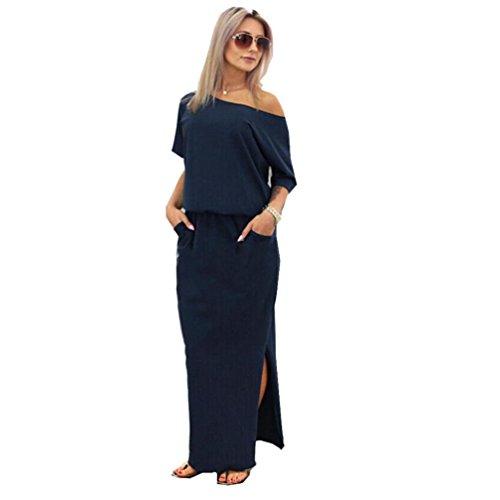 Damen Kleider, GJKK Damen Sommerkleid Lange Maxi Boho Elegant Abendkleid Partykleid mit Tasche Trägerlos Split Maxikleid Cocktailkleid Schulterfreies Knielang Festlich Kleider (Navy blau, L)