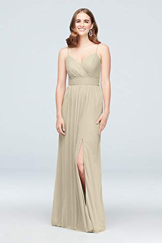 David's Bridal Spaghetti Strap Ruched Waist Mesh Bridesmaid Dress Style F19944, Champagne, 22