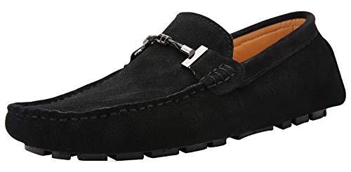 Yaer Uomo Elegante Mocassini Slip On Penny Loafers Scarpe di Guida Casuale Scamosciato Pelle Pantofola Nero 43