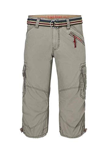 Timezone Herren Loose Milestz 3/4 Cargo Incl. Belt Shorts, Braun (Military Grey 6168), W40(Herstellergröße:40)