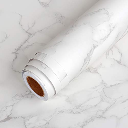 LaCheery Extra Wide 36'x160' Matte Grey White Marble Contact Paper Wallpaper Stick and Peel Marble Countertop Contact Paper Decorative Self Adhesive Wall Paper Roll for Kitchen Island Table Furniture