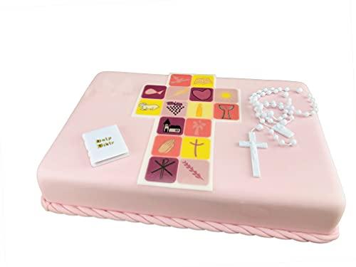 Cake Company Tortendekoration zur Kommunion Mädchen mit essbarem Zuckeraufleger | Kuchen und Torten schnell und einfach dekoriert