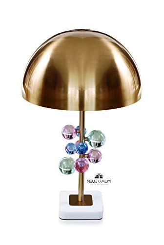 Große Pilz Nachttischlampe Tischlampe Lounge Tisch Lampe Schreibtischlampe Leselampe mit echten Kristallkugeln weißer Marmorfuß Table light Mushroom shape Höhe 60 cm. Qualität
