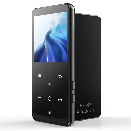 "32GB Reproductor MP3 Bluetooth 4.2-MP3 Player con Radio FM, Grabarora, con Pantalla de Color de 2.4"", Botón Táctil, E-Book, Soporte hasta 64GB Tarjeta(Brazalete Deportivo, Auriculares incluidos)"