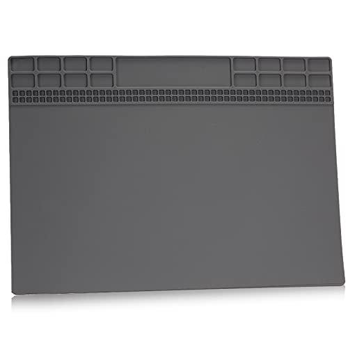 Alfombrilla de soldadura, aislamiento térmico de silicona, alfombrilla de reparación magnética de alta calidad para estación de soldadura, reparación de teléfono y computadora (13.8 x 9.8 'gris)