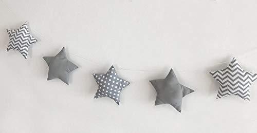 Générique Étoiles et Lune pour Chambre d'enfant avec décoration 5 étoiles (Pois Gris + Rayures)
