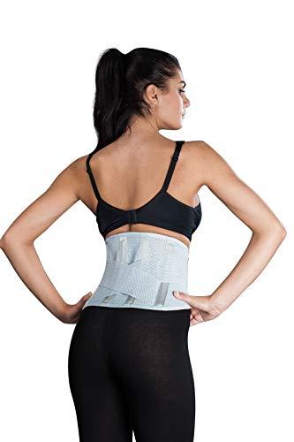 Atmungsaktive Rückenbandage, Rückenstütze LOREY-LU10077 aus elastischem Netzgewebe Größe S Farbe Silber