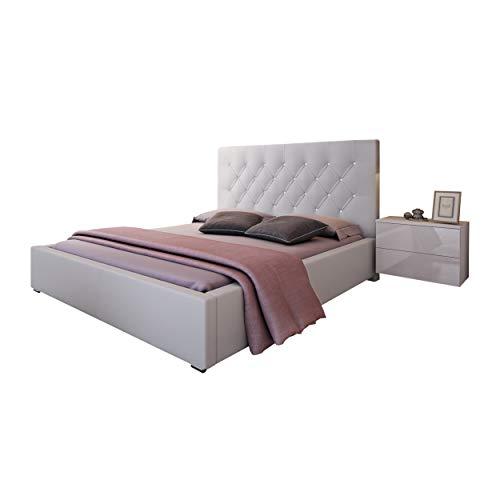 Bett Doppelbett Glamour mit Lattenrost aus Metallrahmen und Kristallknöpfen Bettkasten Polsterbett Bettgestell Schlafzimmer (180 x 200 cm)
