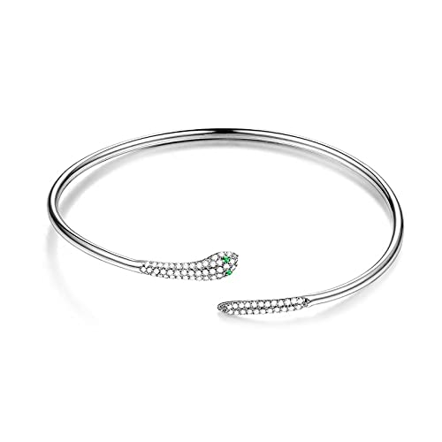 HMANE Brazalete para Mujer de Plata de Ley 925, sonajero con Forma de Serpiente, con Incrustaciones de Ojos Verdes, Brazalete de circón, joyería Fina de Amor con Animales