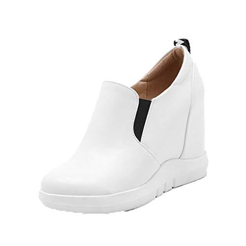 Zapatos Gruesos para Mujer, Zapatos Casuales concisos para Primavera y Verano, Tacones Ocultos de cuña para Exteriores, cómodos Zapatos de Cuero para Vestir