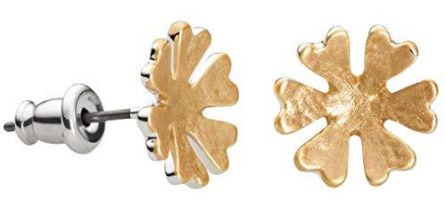 Perlkönig | Damen Frauen | Ohrringe Set | Ear Cuffs | Matt Silber Gold Farben | Schneeflocke| Stecker | Nickelabgabefrei