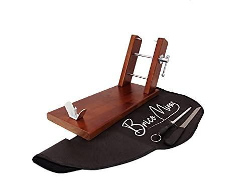 Jamonero de madera económico color nogal, soporte jamonero de madera cocina doméstica y...