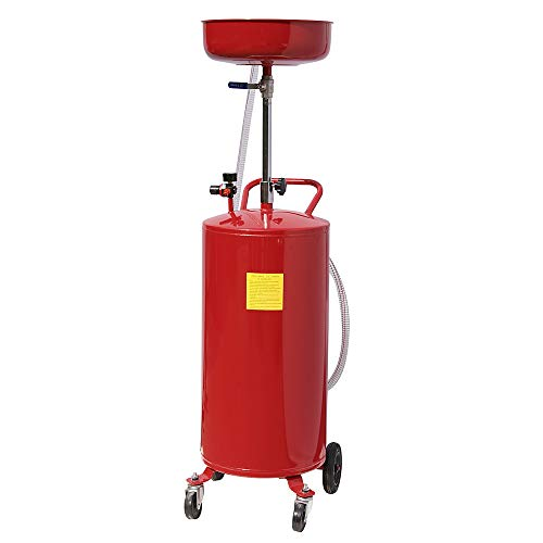 TRIL GEAR 20 Gallon Portable Waste Oil Drain Tank Air Operated Drainage Adjustable Funnel Height w/Wheel, Red