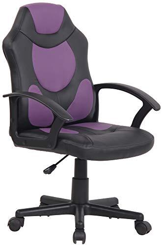 CLP Kinder Bürostuhl Adale I Höhenverstellbarer Schreibtischstuhl Mit Armlehnen I Drehstuhl Mit Leichtlaufrollen, Farbe:schwarz/lila