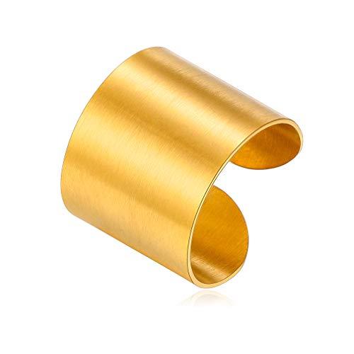 Accesorios Modernos para Dedos Anillo Ajustable 17mm Oro Amarillo 18K para Hombres y Mujeres