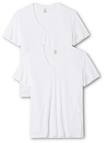 G-STAR RAW Herren T-Shirt Base Htr V T S/S 2-Pack, Weiß (White Solid 2020), Small