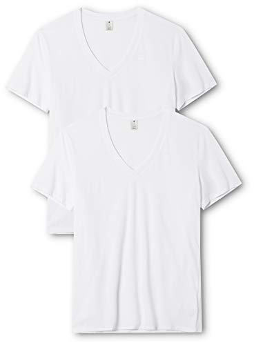 G-STAR RAW Herren T-Shirt Base Htr V T S/S 2-Pack, Weiß (White Solid 2020), Small