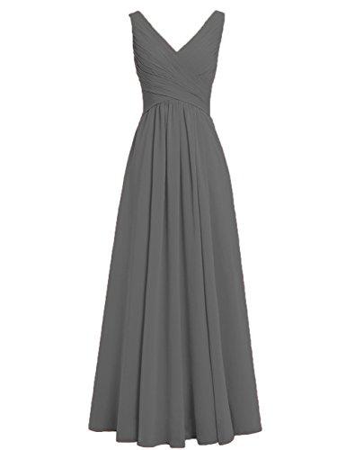 HUINI Brautjungfernkleider Rückenfrei Lang V-Ausschnitt Chiffon A-Linie Abendkleider Ballkleider Festliche Kleider Hochzeit Stahlgrau 54