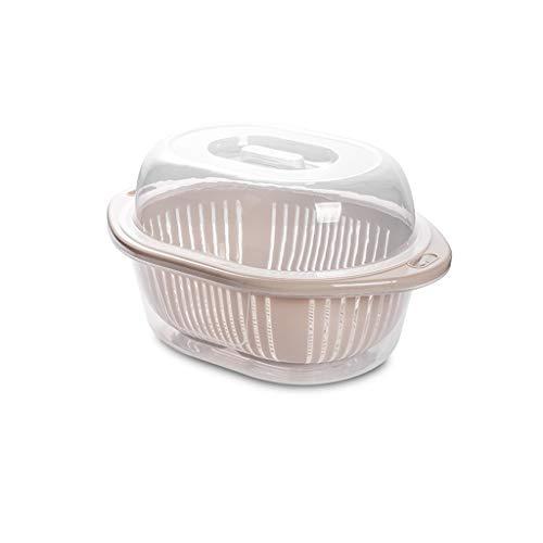 Zeef plastic fruitschalen voor de moderne keuken tweelagige wasmand van kunststof afvoermand voor de keuken Home Multifunctionele ronde fruitschaal Wastafel Fruitmand Small apricot
