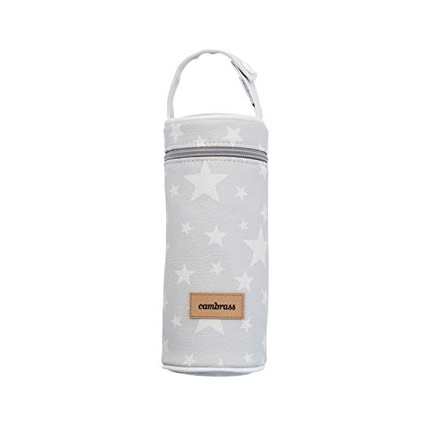 Cambrass 39474 Tasche für Babyflasche, 8.5 x 8.5 x 22 cm, Etoile grau
