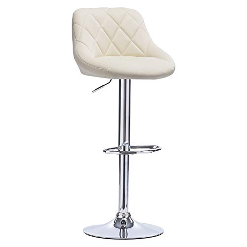 LANGQG Bar Stools Breakfast Dining Stool Chair Exterior Adjustable Swivel Gas Lift Steel Footrest Bar Chair for living room balcony cafe counter barber shop ba (Color : Cream, Size : Faux Leather)