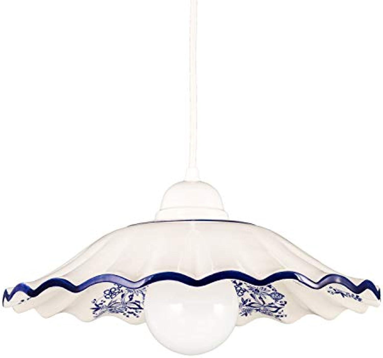 Helios Leuchten 207063 Küchenlampe Keramiklampe wei blau dekoriert  Pendellampe Pendelleuchte aus Keramik  Keramikleuchte KornBlaumen Dekor 1 x E27