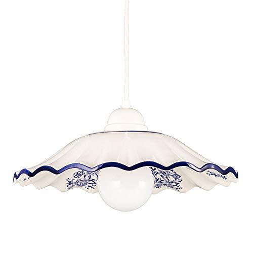 Helios Leuchten 207182 Küchenlampe Keramiklampe weiß blau | Pendellampe Pendelleuchte aus Keramik | Keramikleuchte Kornblumen Dekor | Hängelampe Deckenlampe 1xE27
