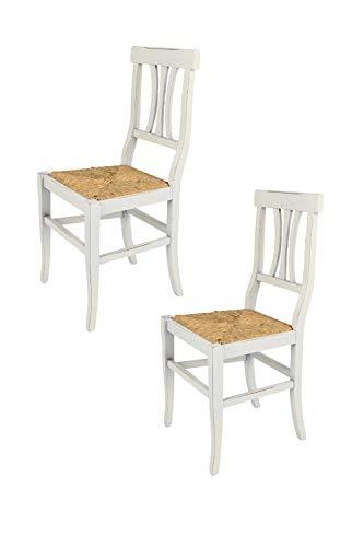 Tommychairs - Set 2 sillas Shabby Chic Artemisia para Cocina y Comedor, Estructura en Madera de Haya Envejecida artesanalmente a Mano y Asiento en Paja