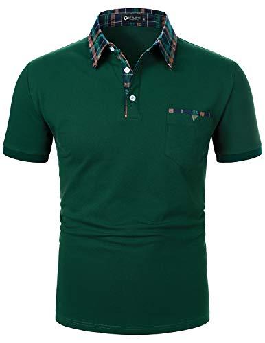 STTLZMC Polos Hombre Mangas Corta Clásico Plaid Cuello Camiseta T-Shirts,Verde,XL