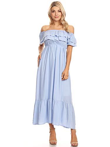 Anna-Kaci Womens Boho Peasant Ruffle Stretchy Short Sleeve Long Dress, Blue, Large