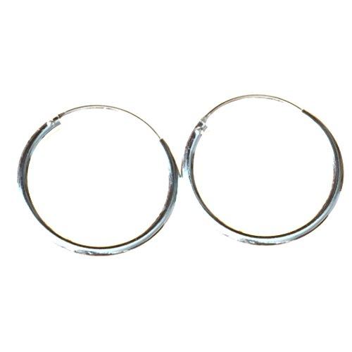 Bella Carina Damen Ohrringe Creolen rund 2 mm Stärke 2-7 cm Durchmesser, 925 Sterling Silber (2 Zentimeter)