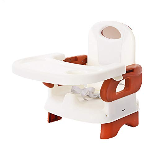 LU KU Portable Baby Chair Booster Seat with Tray, Rounded Corners, Environmentally Friendly Material Multicolor Optional, for Babies Aged 3-36 Months, Attach To Fast Table Chair,Brown