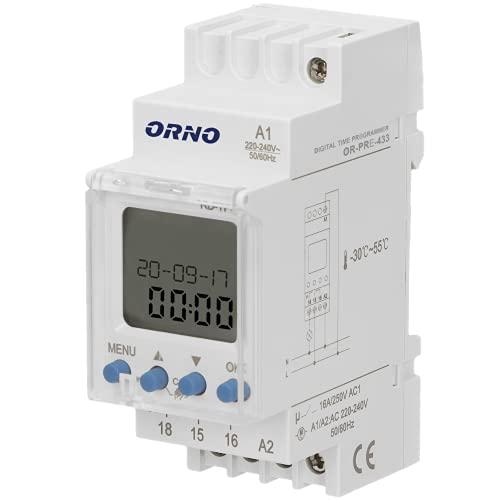 ORNO PRE-433 Zeitschaltuhr Hutschiene 52 Programme, 3 Menüsprachen, 2 Module, DIN TH-35mm