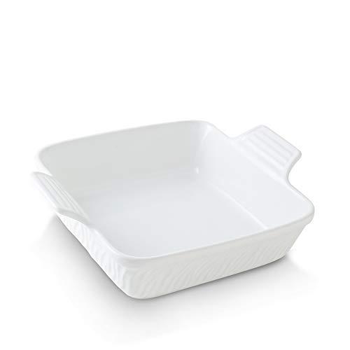 KOOV Ceramic Bakeware, 8x8 Baking Dish, Square Baking Pan, Ceramic Baking Dish, Brownie Pans for Cake Dinner, Kitchen, Texture Series (White)