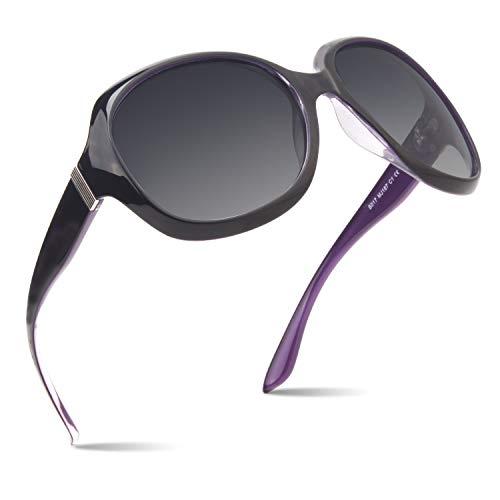 CGID Gafas de sol polarizadas para mujeres Gafas de sol para dama Anteojos Polaroid de gran tamaño Protección UV400 Gafas oscuras 100% UV 400 Gafas para conducir Decoración clásica de metal