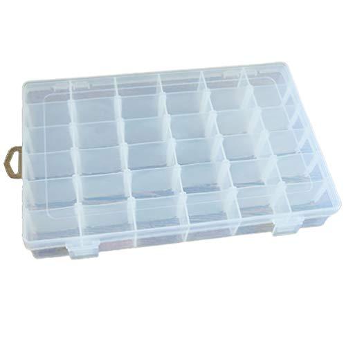 Caja de Almacenamiento de plástico Transparente de 36 Rejillas Caja de Almacenamiento de Medicina cosmética Pendientes Caja de Almacenamiento de Joyas (Blanco Transparente)