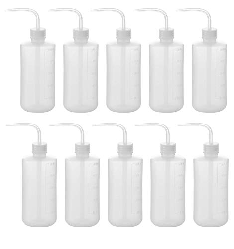 Fasmov 500ml Plastic Safety Wash Bottle, Narrow Mouth Squeeze Bottle, Pack of 10