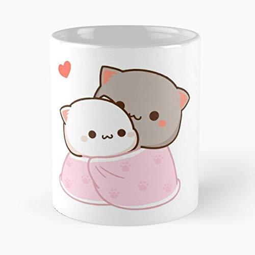 Mochi Süße Katze Romantische Kawaii Kitty Goma Peach The Best 313 ml weiße Keramik-Kaffeetasse