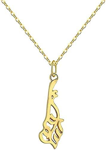 duoyunxiayu Collar Dorado con Colgante musulmán para Mujer, Islam religioso, Alá, joyería árabe, Collar Persa, Collar Vintage, Regalo