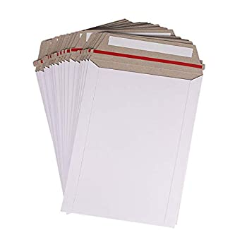 100 Pack 6X8 inch Self Seal Photo Document Mailers Stay Flat White Cardboard Envelopes White Photography Mailersfor CD Photos Document byZMYBCPACK