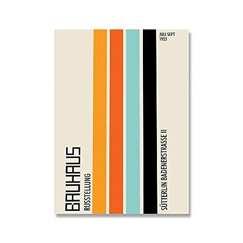 Impresión de arte gráfico geométrico abstracto Bauhaus cartel minimalista moderno pintura de lienzo sin marco A2 15x20cm
